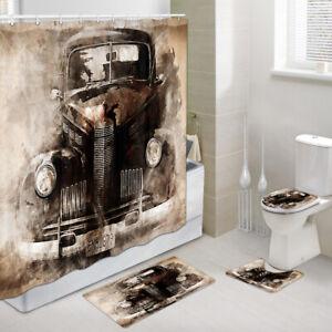 Antique-Car-Shower-Curtain-Toilet-Cover-Rug-Bath-Mat-Contour-Rug-Set