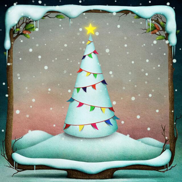 Christmas Cards & Packs - Fairytale Fantasy White Snowy Christmas Tree FREEPOST