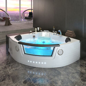whirlpool eckbadewanne badewanne wanne 2 personen heizung pool fenster 140x140cm ebay. Black Bedroom Furniture Sets. Home Design Ideas