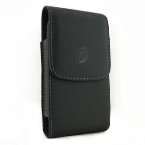 BLACK LEATHER CASE SIDE COVER PROTECTIVE POUCH BELT CLIP I5R for Smartphones