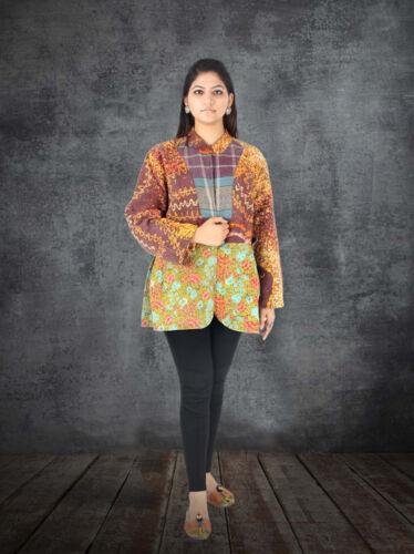 Coat Floral Størrelse Kvinder Quiltet xxl Vintage Kantha Bomuld Jakke Håndlavet 4Rgvwq