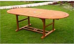 Tavolo Legno Esterno Allungabile.Tavolo Da Giardino In Legno Allungabile 150 200x100 Cm Ovale