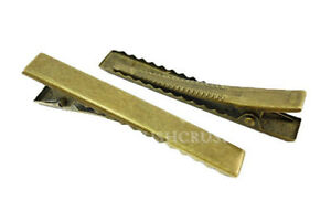 50pcs-45mm-Antique-Brass-Flat-Top-Alligator-Hair-Clips-with-Teeth-Findings-C12