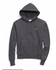 509db9e67b4 Details about new Champion x UO Reverse Weave Icon Hoodie Sz L Large Logo  Granite Heather Gray