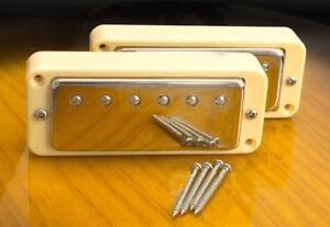 Mini-Humbucker-Conversion-Set-For-P90-Cutout-4-Wire-For-Coil-Tap-Cream