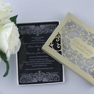 Personalised Engraved Luxury Acrylic Wedding InvitationsParty