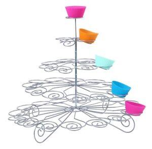 Cupcake-Staender-5-Brett-Haelt-41-Metall-Kuchen-Halter-Rund-Spirale-Party-Tisch