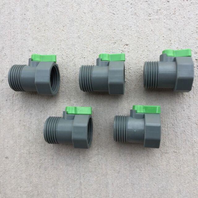 PVC Garden Hose Water Shut Off Ball Valve Nozzle Threaded Lot Of 5 SALE  PRICE!