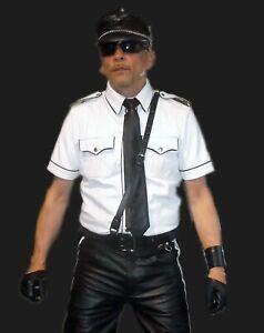 Hombre-Cuero-Real-Blanco-Policia-Militar-Estilo-Camisa-Gay-bluf-Camisa-Caliente-Todas-Las-Tallas
