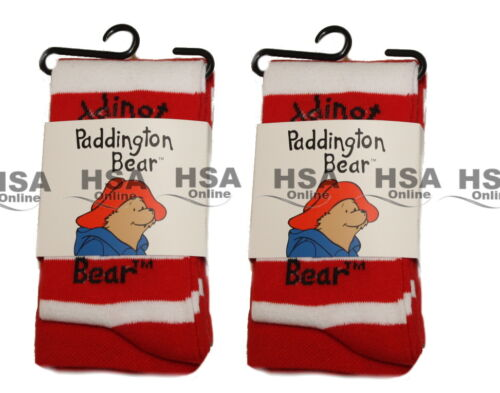 Girls Cotton Rich Tights in Striped Red//Blue,Paddington Bear,1-8 Years,Gift NEW