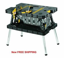 Work Table Bench Portable Folding Station Wood Clamps Job site Mobile Cut New