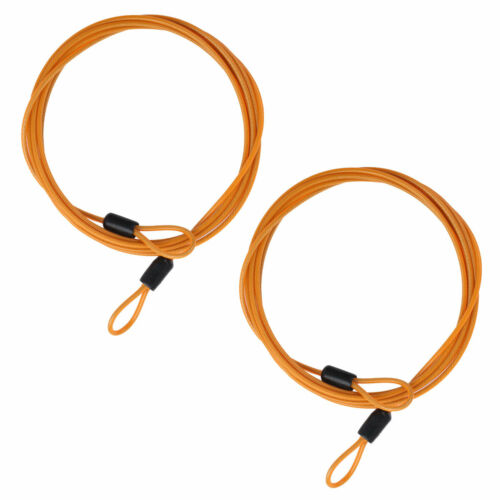 2pcs Lock Wire Extender Cable Luggage Rope w//Braided Steel Coated Double Loop 2m