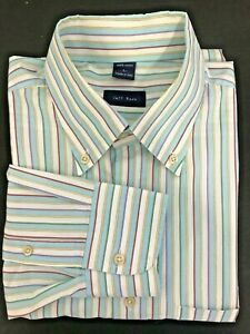 Jeff-Rose-Mens-Long-Sleeves-Button-Front-Shirt-Stripes-Size-Large-Made-In-Italy