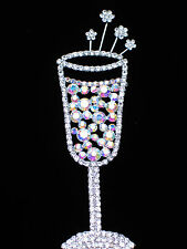 WEDDING NEW YEARS EVE PARTY CELEBRATION DRINK WINE CHAMPAGNE GLASS PIN BROOCH 5""