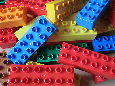 10x Bunt Gemischte Lego Duplo Bausteine 2x6 12er Noppen Steine Lange Bausteine