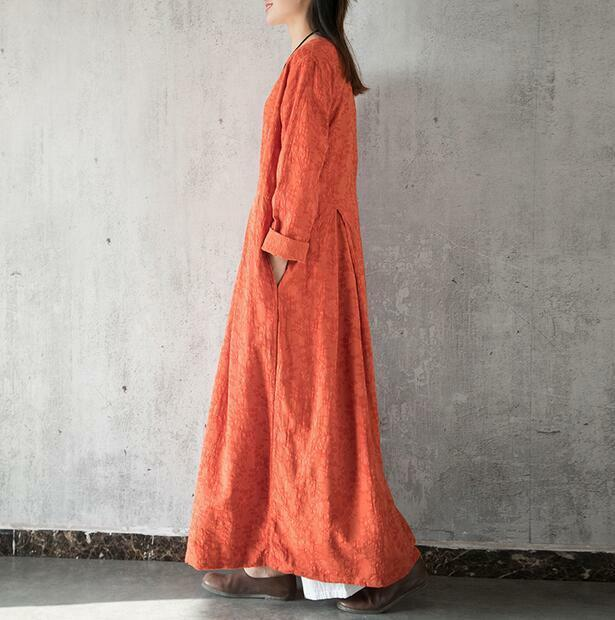 Women's Long Casual Caftan Dress Loose Fit Maxi Long Sleeve Linen Gown New