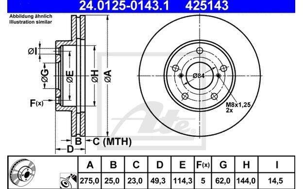 ATE Juego de 2 discos freno Antes 275mm ventilado para TOYOTA RAV 24.0125-0143.1