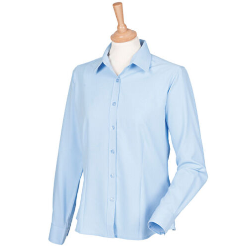 Henbury Women/'s Antibacterial Long Sleeve Shirt H591-Ladies Office Workwear Top