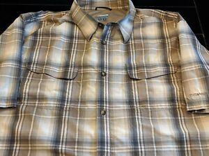 COLUMBIA-PFG-Men-039-s-TITANIUM-Short-Sleeve-Shirt-XL-Beige-Plaid-Fishing-Hiking