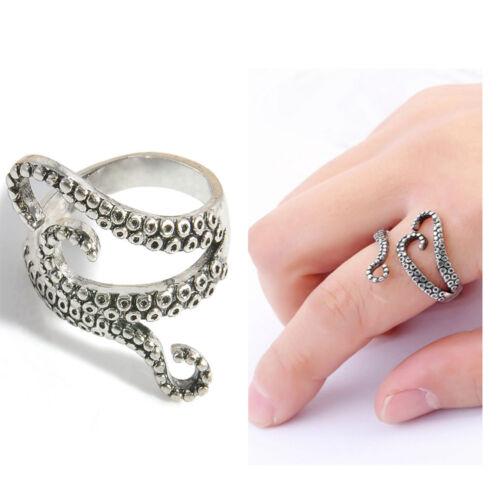 Gothic Deep Sea Squid Finger Octopus Ring Women Men Adjustable Jewelry Pirates