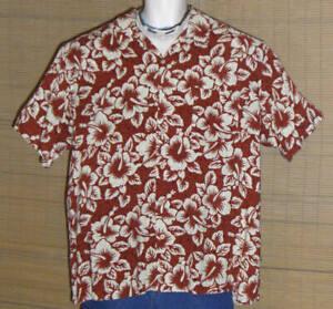 Ocean Pacific Hawaiian Shirt Red Beige Flowers Size XL