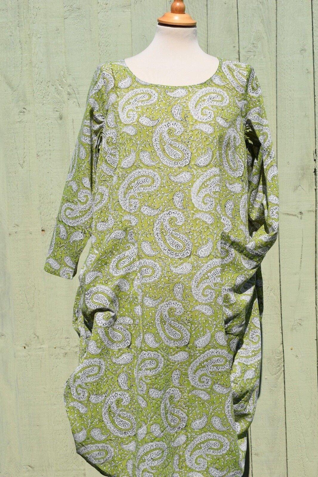 Nila Rubia Light Cotton Grün Paisley Roshan Tunic Dress Pockets 3 4 Sleeve