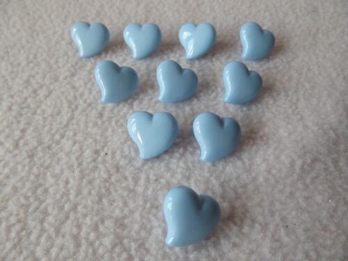 10 x Bleu en forme de cœur boutons taille 15 mm ~ fashion//Craft