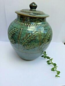 Mid-century-Pottery-Lidded-jar-N-W-signed