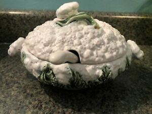 Bordallo Pinheiro Green Majolica Cauliflower Cabbage Soup Tureen W Lid Ladle Ebay