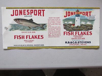 Jonesport Vintage Fish Flakes Maine Can Label W An Original 1920 S Tin Can Label Ebay
