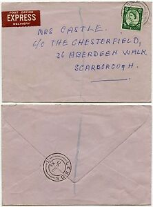 GB POST OFFICE EXPRESS DELIVERY 1959 WILDING 1/3 SINGLE FRANKING YORKSHIRE
