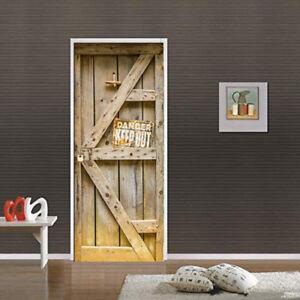 3D Warning Danger Wood Door Murals Photo Wall Sticker Wallpaper Bedroom Decor   EBay