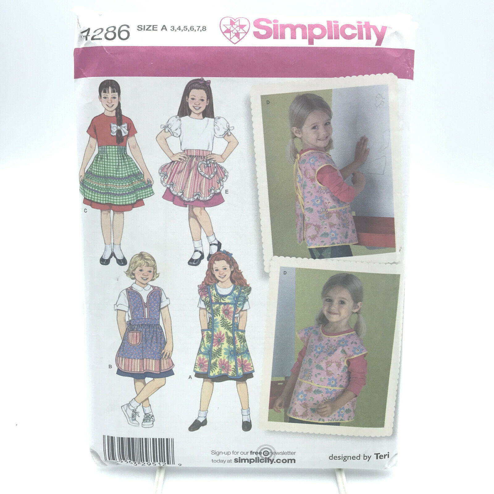 Simplicity 1056 EASY Misses Girls Heart Bib Aprons Sewing Pattern Sz S-M-L 3-8