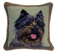 Cairn Terrier Dog Needlepoint Pillow 10x10