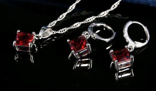 Set Damen Ohrringe Halskette Kissen Zirkonia 925er Sterling Silber Schmuck Rot