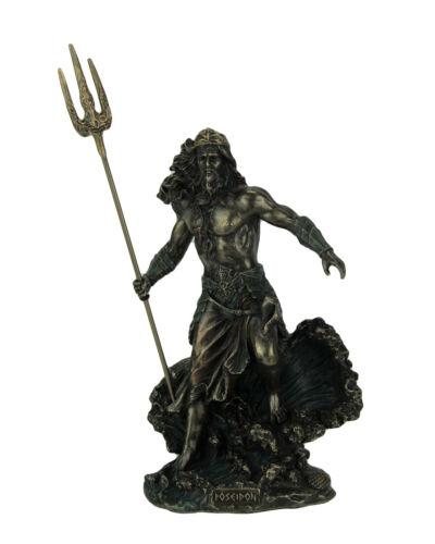 Greek God Poseidon Standing Over Crashing Waves Statue