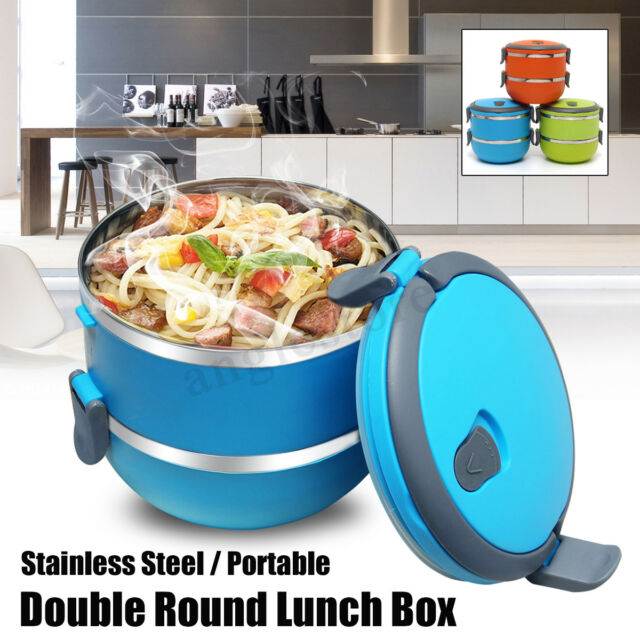 2 Layers Stainless Steel Thermal Insulated Lunch Box Bento Food Picnic Container