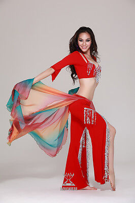 New Soft Chiffon Waist Wings Gradient Color Belly Dance Costumes 5 Colors
