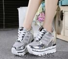 Trendy Womens Wedge Heels Lace Up Cut Out Platform Casual Shoes Sneakers Size