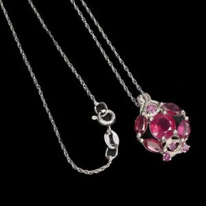 Round-Red-Ruby-7mm-14K-White-Gold-Plate-925-Sterling-Silver-Necklace-18-Inches