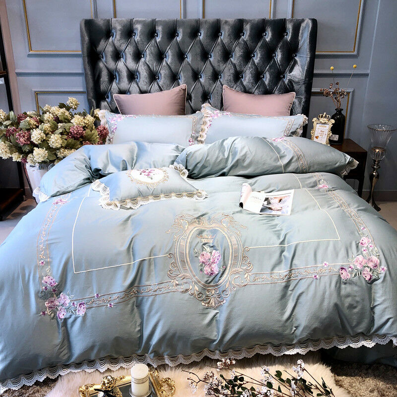 Luxury Boutique Embroidered Embroidery blueeee Pink Flower Duvet Cover Bedding Set