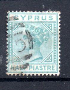 Cyprus-QV-1881-1-2pi-emerald-green-SG11-fine-used-WS20043