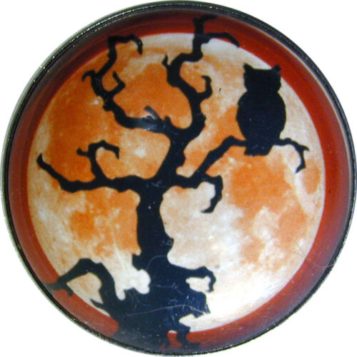 Crystal Dome Button Large Size Owl in Tree w Full Moon HW 45 FREE US SHIPPING
