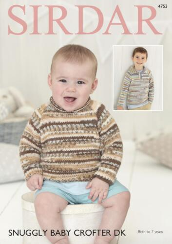 Sirdar 4753 Knitting Pattern Baby Childrens Sweaters in Snuggly Baby Crofter DK