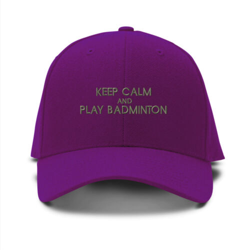 Keep Calm And Play Badminton Embroidery Embroidered Adjustable Hat Baseball Cap