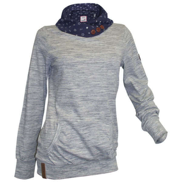KANGAROOS Sweatshirt 32 34 weiß meliert Longshirt Kragen Zierknöpfe neu