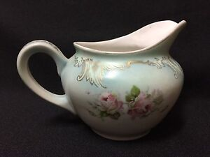 Antique-Collectible-Hand-Painted-Floral-Porcelain-China-Creamer