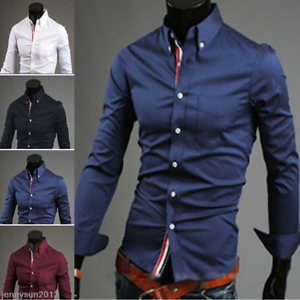 Men/'s Long Sleeve Button Down T-shirt Tops Slim Fit Casual Dress Stylish Shirts