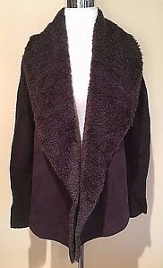 NWT-Women-039-s-Brown-Chelsea-amp-Theodore-Faux-Fur-Long-Sleeve-Open-Cardigan-Small