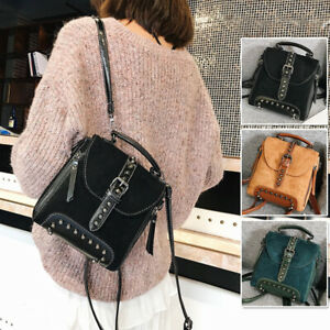 Convertible-Faux-Suede-Leather-Small-Mini-Backpack-Rucksack-Shoulder-Bag-Purse